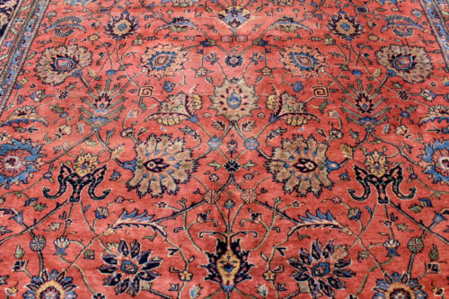 10X22 1920's MUSEUM PALACE ANTIQUE VEGETABLE DYE WOOL SULTANABAD TURKISH RUG