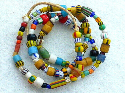 ANTIQUE 21 INCHES STRAND OF COLORFUL MICRO GLASS PONY BEADS