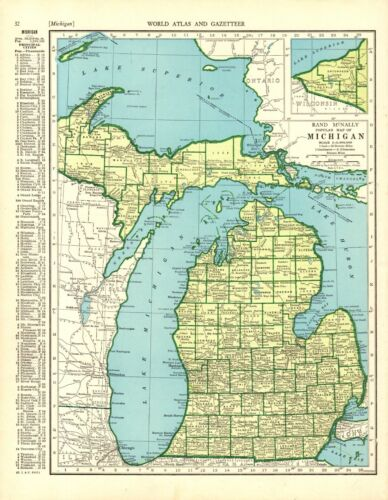 1942 Antique MICHIGAN State Map Gallery Wall Art Vintage Map of Michigan 9349