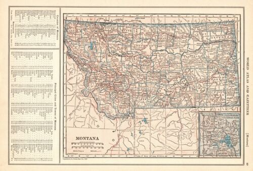 1927 Antique Montana State Map Original Vintage Map of Montana Gallery Wall 9354