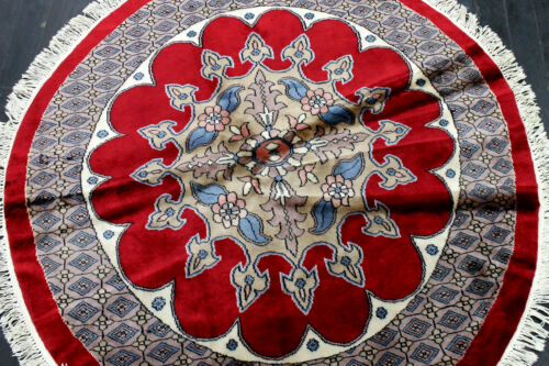 4X4 NEW SUPERB HAND KNOTTED HQ 300+KPSI VEGETABLE DYED WOOL BOKHARA RUG ROUND