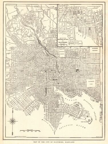 1914 Antique BALTIMORE Street Map Vintage City Map of Baltimore Maryland 9357