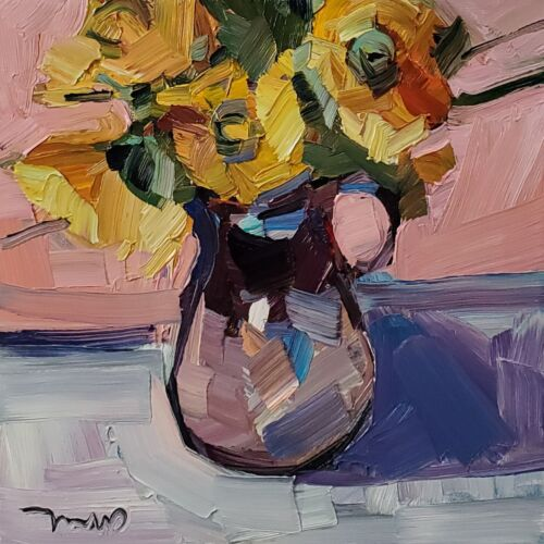 JOSE TRUJILLO Oil Painting IMPRESSIONISM Collectible STILL LIFE FLOWERS FLORAL
