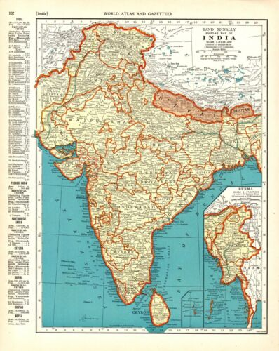 1938 Antique INDIA Map Vintage Map of BURMA MAP of India Gallery Wall Art 9366