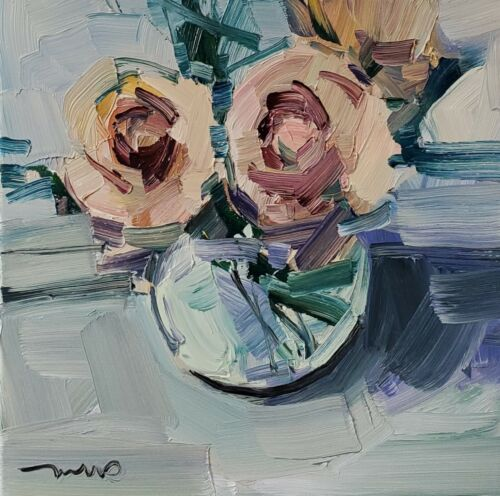 JOSE TRUJILLO Oil Painting IMPRESSIONISM MODERN Still Life Flowers ROSES FLORAL