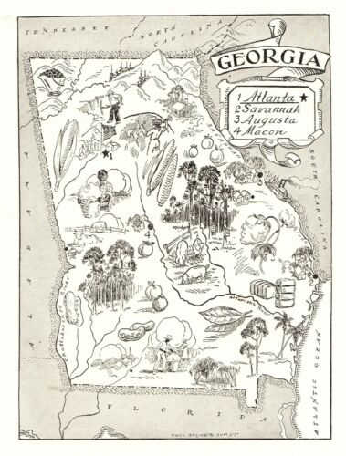 1950s Animated GEORGIA State Map Vintage Georgia Picture Map BW 6814