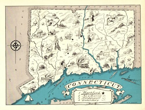 1930s Antique CONNECTICUT State Map RARE Animated Picture Map BLU 6915