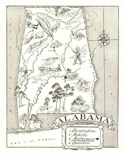 1950s Vintage ALABAMA State Map Animated Alabama Picture Map Art BW 6816