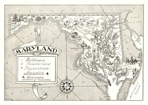 1950s Vintage MARYLAND State Map Animated Maryland Picture Map BW 6809
