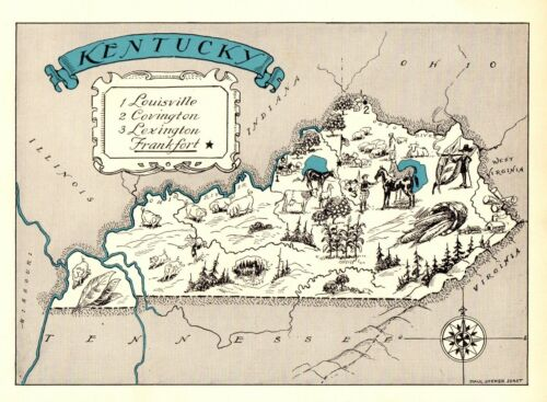1930s Antique KENTUCKY State Map RARE Animated Picture Map of Kentucky BLU 6903