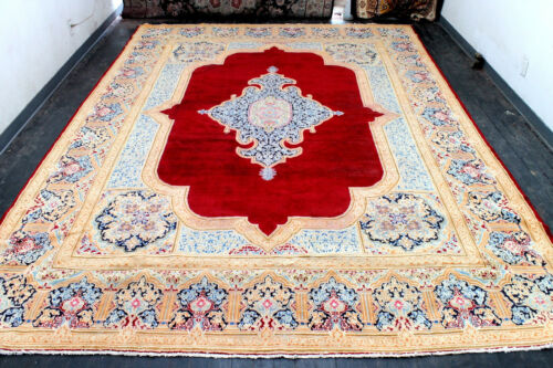 10X14 1930's FINE ANTIQUE HAND KNOTTED VEGETABLE DYE WOOL KERMANN DISTRESSED RUG
