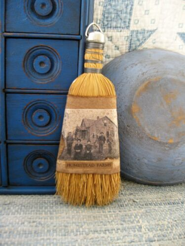 Antique Whisk Broom Feed Sack Sleeve w Old Photo Print Homestead Farms