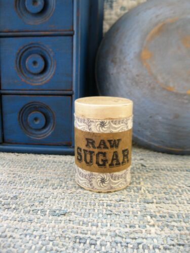 Antique Pantry Tin Brown and White Calico Raw Sugar Label Free Shipping