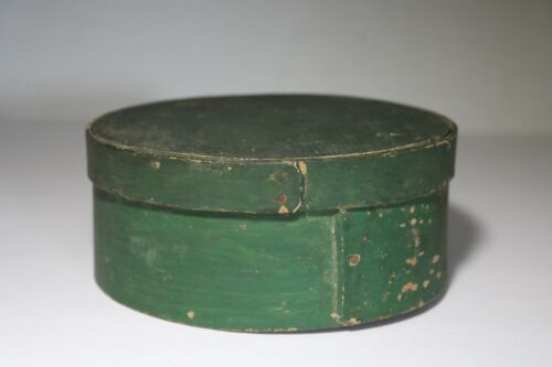ANTIQUE SIGNED J. BURR HINGHAM WOODEN PANTRY BOX NICE OLD FOREST GREEN PAINT