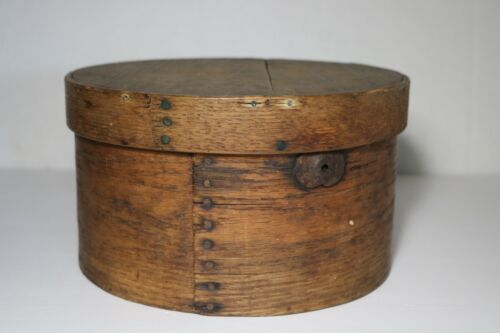 ANTIQUE 19c WOODEN PANTRY BOX SIGNED T.F MARSTON MISSING BAIL HANDLE Apple Ends