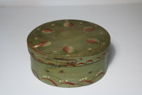 ANTIQUE 19c SHAKER STYLE PANTRY BOX WITH BEST OLD STRAWBERRIES PAINT DECORATION