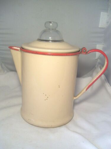 NICE OLD 1950's TAN W/RED HANDLE AND TRIM GRANITEWARE COFFEE POT W/GLASS TOP