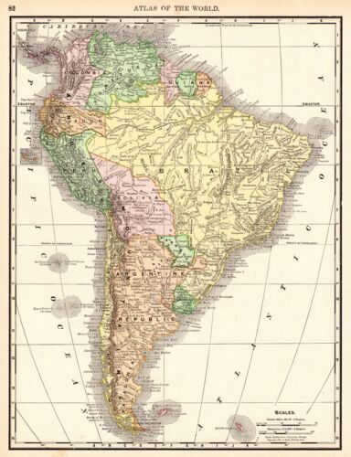 1892 Antique SOUTH AMERICA Map Vintage Map of South America Gallery Wall 5576