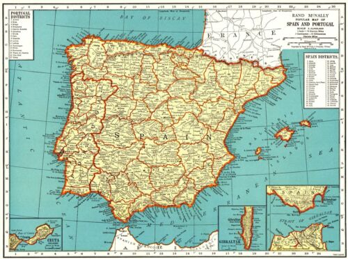 1939 Antique Map of SPAIN and PORTUGAL Collectible Vintage Spain Map 7322