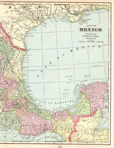 1901 Antique Map of MEXICO George Cram Mexico Map Gallery Wall Art 5577