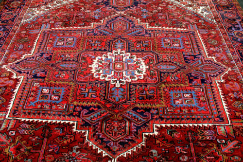 10X13 1940's MASTERPIECE MINT ANTIQUE HAND KNOTTED HERIZZ GEOMETRIC WOOL RUG WOW