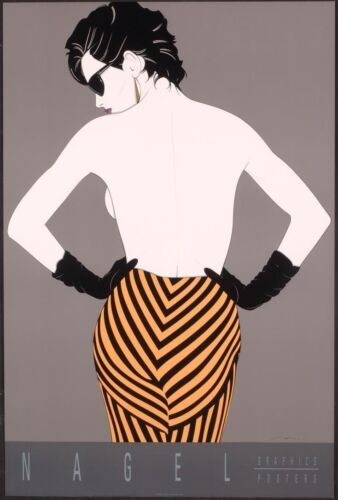 Patrick Nagel STRIPED PANTS Art Rare Lithograph Semi Nude Back Out of Print New