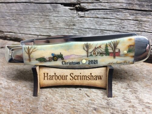 CASE LIMITED ED CHRISTMAS KNIFE w ORIGINAL SCRIMSHAW by HARBOUR of TREE & FARM