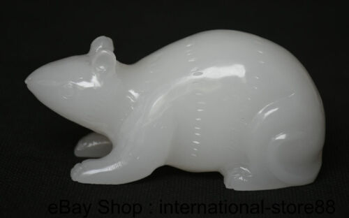 """4.4"""" China Natural White Jade Carving Feng Shui 12 Zodiac Year Rat Mouse Statue"""