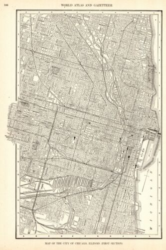 1928 Antique CHICAGO Illinois Street Map City Map of Chicago Wall Art 9070