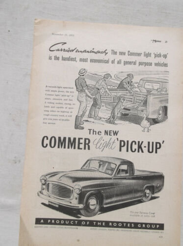 Commer Light Pick Up Original Advertisement Removed from a Magazine Utility Ute