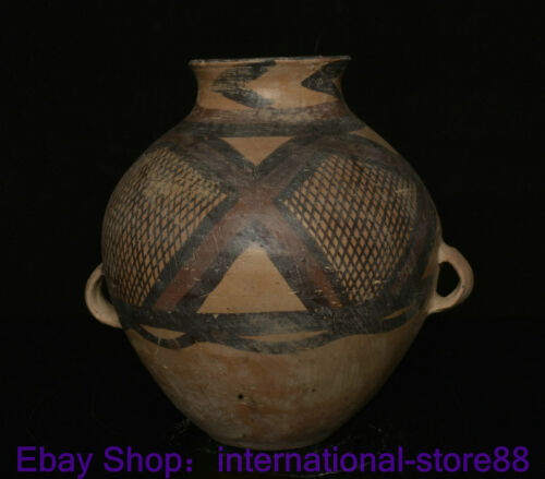 """8""""  Old Chinese Neolithic Majia Kiln Culture Pottery Grid Pattern 2 Ear Tank KK"""