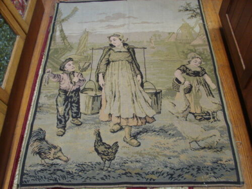 ANTIQUE VICTORIAN MADE IN FRANCE CHICKENS DUTCH GIRLS LARGE 40 X 51 TAPESTRY