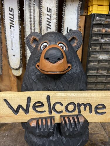 """Chainsaw Carved BLACK BEAR with FREE Custom Sign 21.5"""" Tall BLACK BEAR STATUE"""