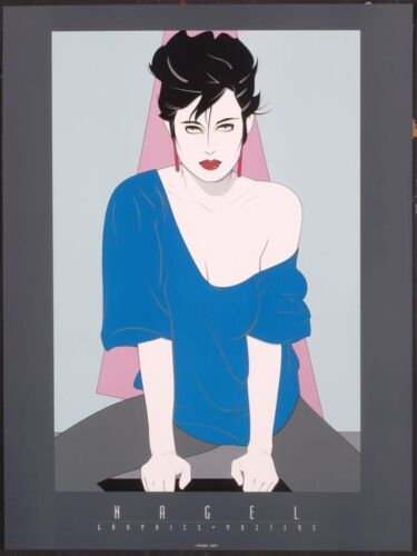 Patrick Nagel BLUE SWEATER OFF SHOULDER Rare Lithograph Print Out of Print New