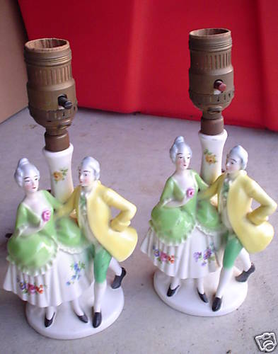 Pair Antique Germany Figural Lamps Victorian Man Woman