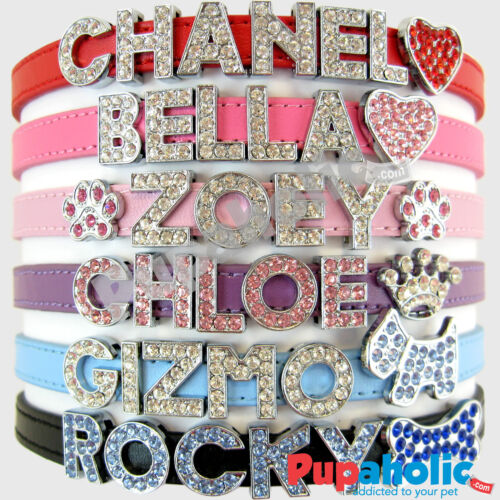 Matte Dog Cat Pet Personalized Rhinestone Collar <br/> FREE Name up to 6 Letters + 1 Charm - Ships from USA