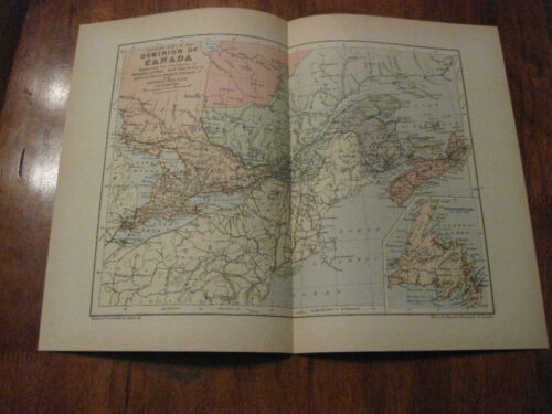 Nice Antique Map of Eastern Canada c. 1895 Johnston