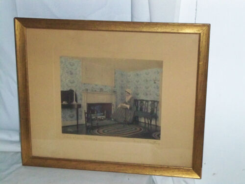"Signed Wallace Nutting Interior ""While I Was Musing""  1919 Great Shape"