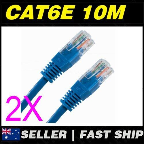 2x 10m Cat 6 Cat6 Blue Network LAN Cable Home NBN ADSL Phone PS4 Xbox TV