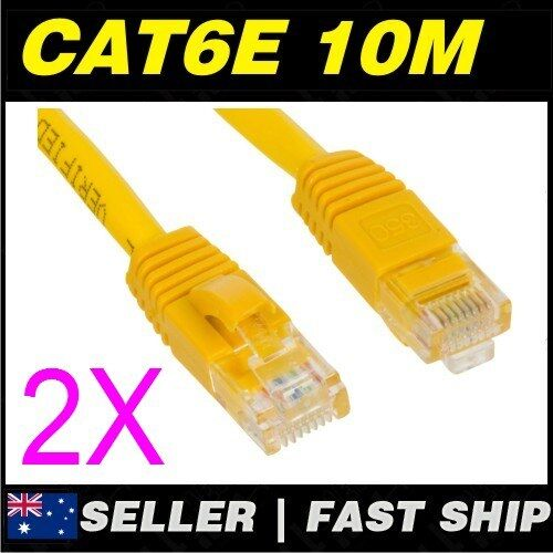 2x 10m 32.8ft Premium Cat6 Yellow Ethernet Network LAN Patch Cable Lead