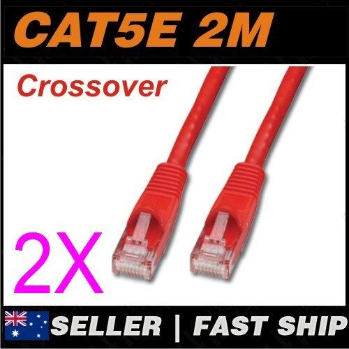 2x 2m Cat5E Crossover Red  Ethernet Network LAN Patch Cable Lead