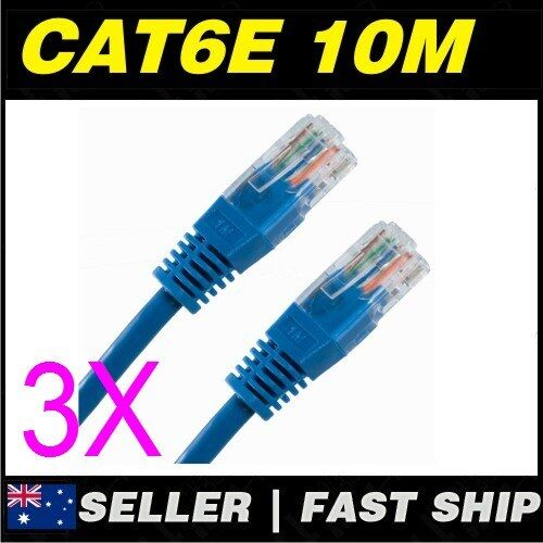 3x 10m Cat 6 Cat6 Blue Network LAN Cable Home NBN ADSL Phone PS4 Xbox TV