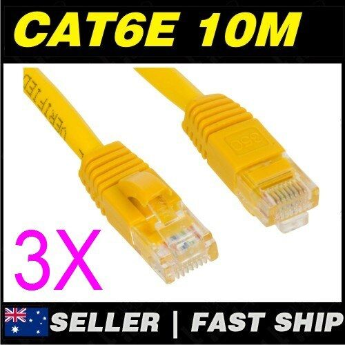 3x 10m 32.8ft Premium Cat6 Yellow Ethernet Network LAN Patch Cable Lead