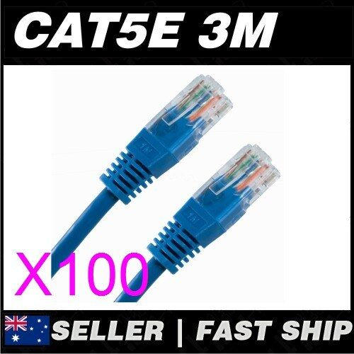 100x 3m Cat 5 5E Cat5 Cat5E Blue  Ethernet Network LAN Patch Cable Lead