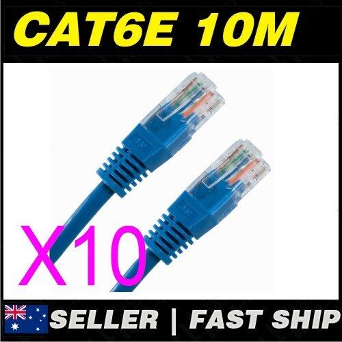 10x 10m Cat 6 Cat6 Blue Network LAN Cable Home NBN ADSL Phone PS4 Xbox TV