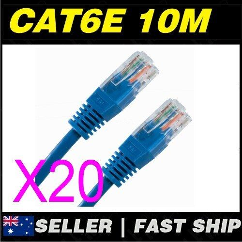 20x 10m Cat 6 Cat6 Blue Network LAN Cable Home NBN ADSL Phone PS4 Xbox TV