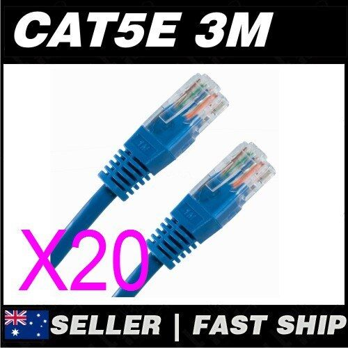 20x 3m Cat 5 5E Cat5 Cat5E Blue  Ethernet Network LAN Patch Cable Lead