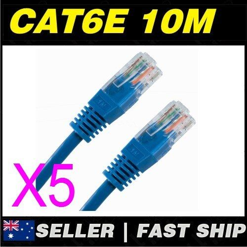 5x 10m Cat 6 Cat6 Blue Network LAN Cable Home NBN ADSL Phone PS4 Xbox TV