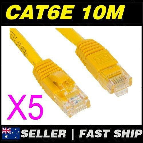5x 10m 32.8ft Premium Cat6 Yellow Ethernet Network LAN Patch Cable Lead