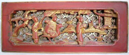 "Antique Chinese Carved Gold Gilt & Red Wood Panel w/ Immortal on Crane  (15.6"" )"